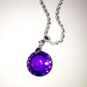 Jewelry - Vintage 10k gold round faceted amethyst pendant